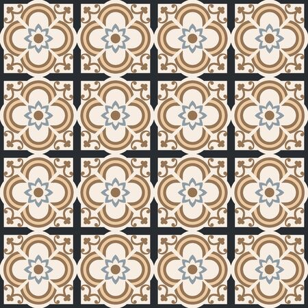 Beautiful floral seamless mosaic pattern