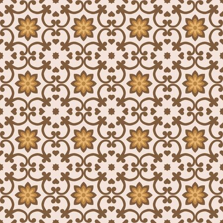 Beautiful floral brawn and yellow seamless tiles pattern