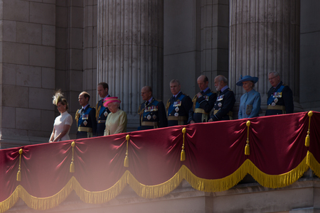 ii: LONDON, UK - Queen Elisabeth II and the royal family in the Buckingham Palace on Britains Day Editorial