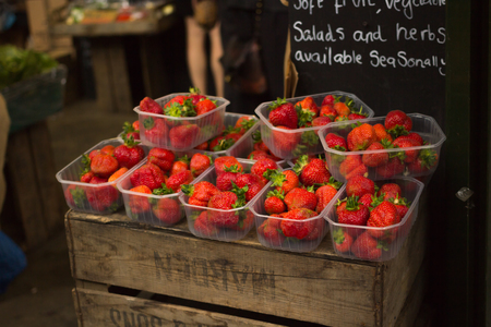 grocers: Strawberries on sale at Fruit Stand