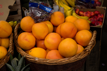 grocers: Peaches on sale in Fruit Stand