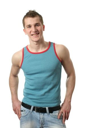 only young adults: Young sexy man wearing a blue shirt isolated on white Stock Photo