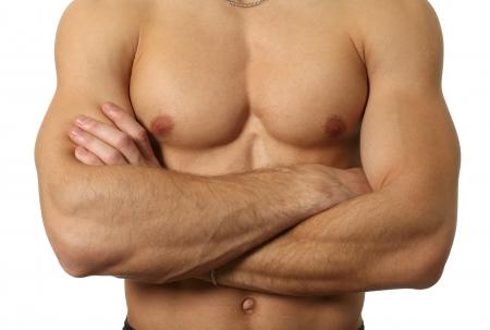 nudo maschile: Torso maschile muscolare isolato su bianco