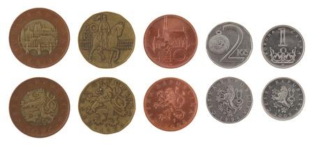 koruna: Czech koruna coins isolated on white