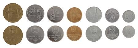 koruna: Old Slovak koruna coins isolated on white