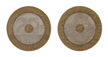 an obverse: Old French 20 franc coin depicting Mont Saint Michel. Obverse and reverse isolated on white. Stock Photo
