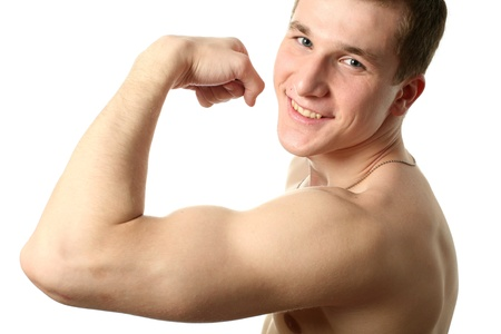 his: Young sexy man showing his biceps isolated on white
