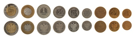 obverse: Set of Polish Zloty coins isolated on white
