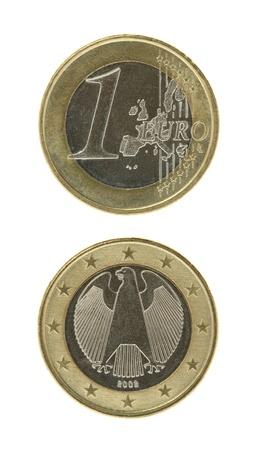 obverse: One euro coin macro isolated on white