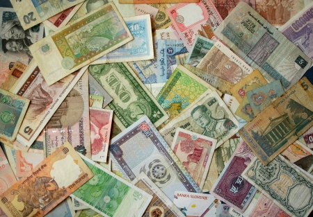 Exotic Asian and African banknotes Stock Photo