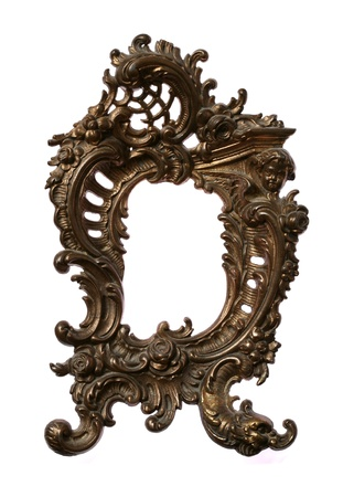 Antique Baroque brass frame isolated on white Stock Photo