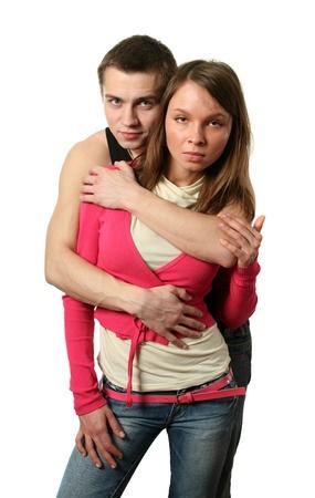 Loving couple isolated on white Stock Photo - 15439557