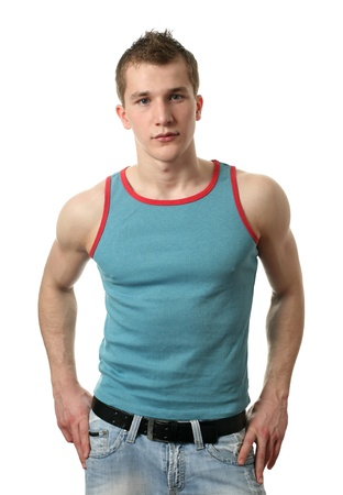 top: Young sexy man wearing a blue shirt isolated on white Stock Photo