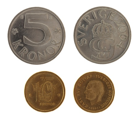 gustaf: Swedish krona coins depicting Carl XVI Gustaf of Sweden. Obverse and reverse isolated on white. Stock Photo