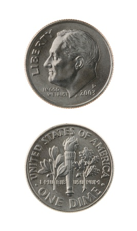 EE.UU. una moneda de diez centavos (diez centavos de d�lar) aislada en el anverso y reverso blanco Foto de archivo - 15439116