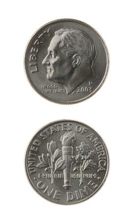EE.UU. una moneda de diez centavos (diez centavos de dólar) aislada en el anverso y reverso blanco Foto de archivo - 15439116