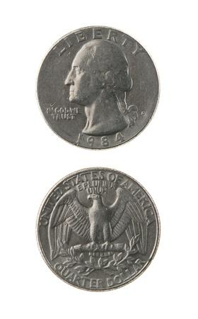 george washington: EE.UU. moneda de un cuarto (veinticinco centavos) aislado en blanco anverso y reverso Foto de archivo