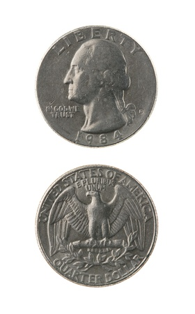 US one quarter coin (twenty five cents) isolated on white obverse and reverse