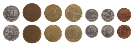 baudouin: Old Belgian franc coins isolated on white