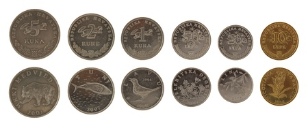 Set of Croatian Kuna coins isolated on white photo