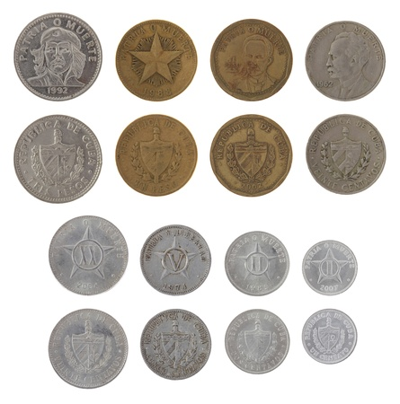 Cuban peso coins isolated on white photo
