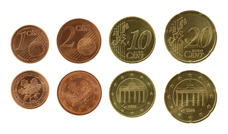 Eurocents collection isolated on white Stock Photo - 15449069
