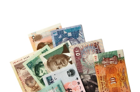 Exotic Asian and African banknotes isolated on white Stock Photo - 15449483