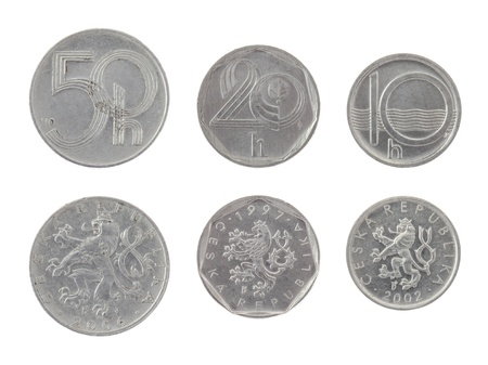 Old Czech heller coins isolated on white photo