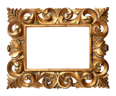 Wooden Baroque frame isolated on white photo