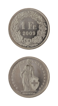 One Swiss Franc coin isolated on white