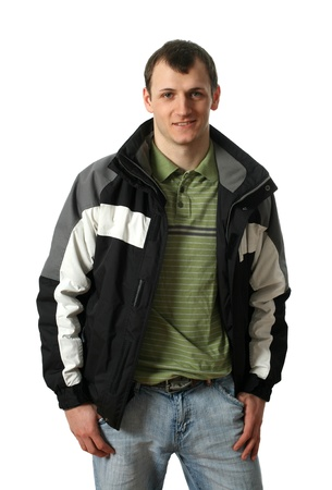 undone: Young man wearing winter clothes isolated on white Stock Photo