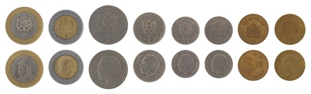 obverse: Moroccan dirham coins depicting King Hassan II of Morocco. Obverse and reverse isolated on white. Stock Photo