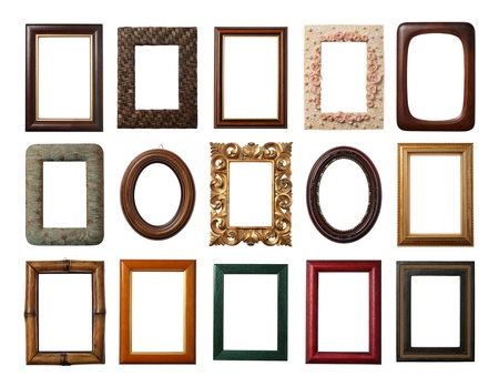 vintage retro frame: 15 different frames isolated on white