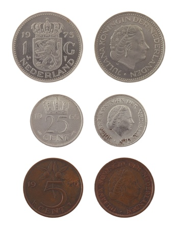 obverse: Old Dutch guilder coins depicting Queen Juliana of the Netherlands. Obverse and reverse isolated on white. Stock Photo