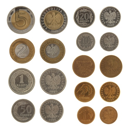 coinage: Set of Polish Zloty coins isolated on white