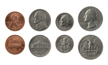 US coins collection isolated on white, obverse and reverse 스톡 콘텐츠