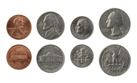 EE.UU. colección de monedas aislados en blanco, anverso y reverso