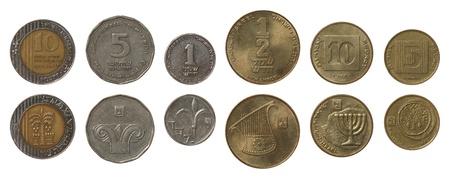 sheqalim: Israeli new shekel coins isolated on white