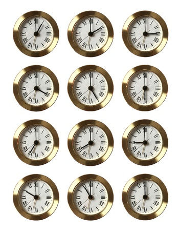 6 12: Set of 12 clocks showing different time isolated on white