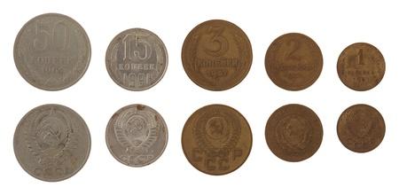 kopek: Old Soviet kopek coins isolated on white Stock Photo