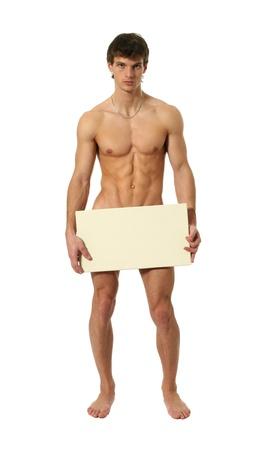 homme nu: Nu homme muscl� couvrant avec une planche, copie, espace blanc isol� sur blanc