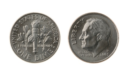 dime: US one dime coin (ten cents) isolated on white – obverse and reverse