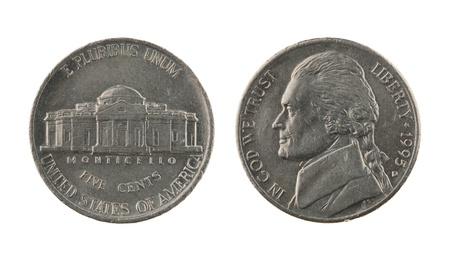 US one nickel coin (five cents) isolated on white – obverse and reverse 스톡 콘텐츠