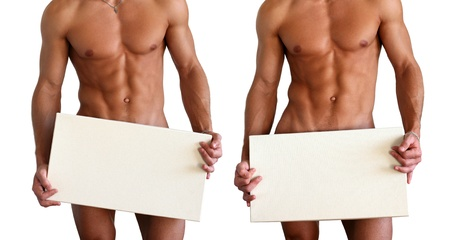 nude male: nude muscular torso covering with a copy space box isolated on white