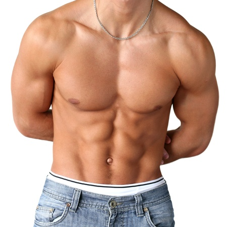 Sexy muscular torso isolated on white Stock Photo - 15481215