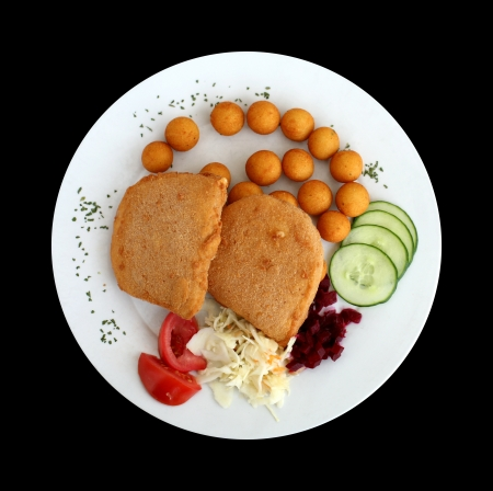 breading: Plate of breading fried cheese isolated on black  Traditional Czech meal