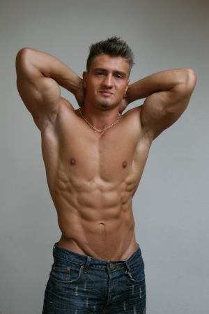 Stretching muscular male model Stock Photo - 15531581