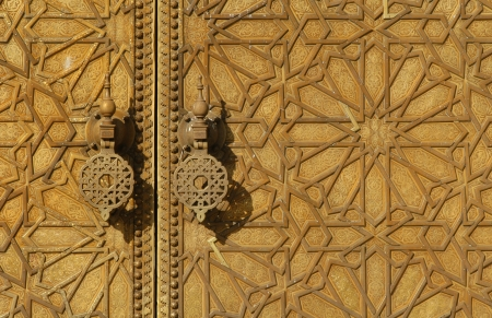 Brass gate of the Royal Palace in Fes, Morocco photo