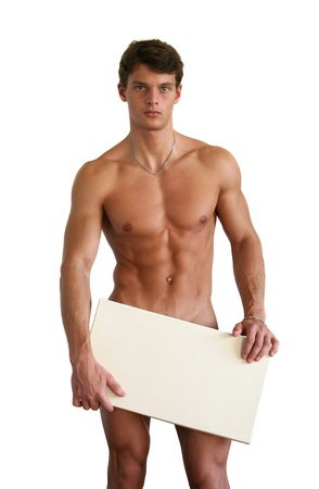 naked people: Naked muscular man covering with a copy space blank sign isolated on white