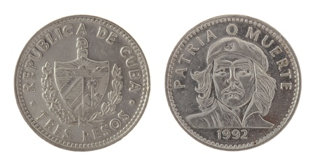 an obverse: Cuban three pesos coin depicting Ernesto Che Guevara. Obverse and reverse isolated on white.